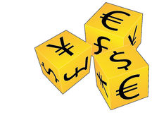 Currency dice. Business concept illustration of a set of dice with currency symbols on their faces Royalty Free Stock Photography