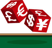 Currency dice. Two currency red dice  on game table Royalty Free Stock Photography