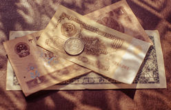 Currency different countries banknotes Stock Images