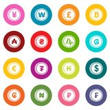 Currency from different countries icons many colors set Royalty Free Stock Photo