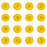 Currency from different countries icons set Stock Photos