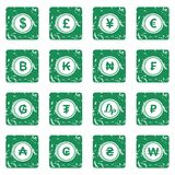 Currency from different countries icons set grunge Stock Photos