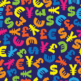 Currency from different countries seamless pattern Royalty Free Stock Photo