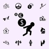 currency dizziness. currency floating around a persons icon. Profit icons universal set for web and mobile royalty free illustration
