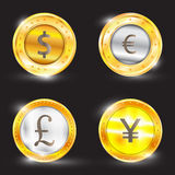 Currency - the dollar - the euro - pound sterling - Yen. Vector illustration Stock Photos