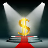 Currency dollar on a pedestal, illuminated by searchlights. Prof Stock Photo