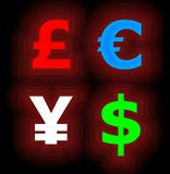 Four Neon Currency Symbols on Black stock photos