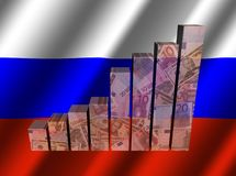 Currency graph on rippled Russian flag illustration Stock Photo