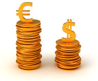 Currency dominancy - US dollar and Euro Stock Photos