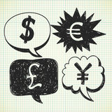 Currency doodle Royalty Free Stock Photos