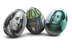 Currency eggs. Illustration of dollar, euro and chinese yuan bank notes in shapes of egg vector illustration