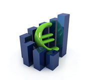 Currency euro business graph on white background Royalty Free Stock Images