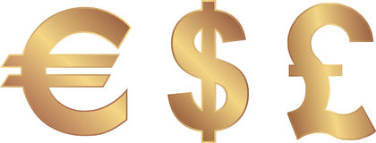 Currency. Euro,dollar and pound currencies Stock Images