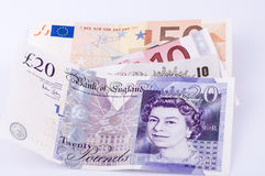Currency. Euro and sterling  currency isolated Royalty Free Stock Images