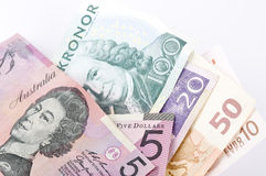 Currency. Euro and Swedish Kronor, Australian dollar currency isolated Stock Photo
