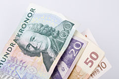 Currency. Euro and Swedish Kronor currency isolated Stock Photos