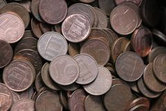 Pile of one Euro cents. Currency of the European Union. Pile of one Euro cents royalty free stock photo