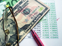 Currency exchange. Money laying on the table of an exchange rate of currency Stock Image