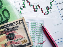 Currency exchange. Money laying on the table of an exchange rate of currency Royalty Free Stock Photo