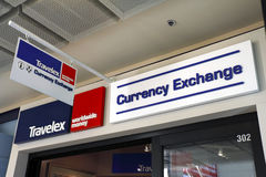 Currency exchange. A currency exchange business located indoor of a shopping center Stock Images