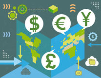 Currency exchange around the world Stock Images