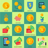 Currency exchange in the banking system. Online, offline, in many ways. Icons in a flat style Stock Photos