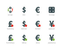 Currency Exchange color icons on white background. Pictogram collection of Currency Exchange and Money Conversion, Dollar, Euro, Pound, Yen for Stock Market Stock Image