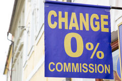 Currency exchange commission information banner Stock Photography