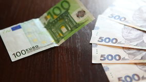 Currency exchange concept, euro and uah stock video footage