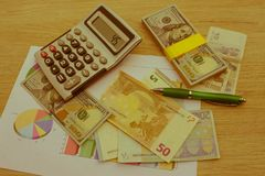 Currency exchange concept. finances, currency, exchange rate and business concept royalty free stock photography