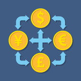 Currency exchange concept. Flat design stylish. Royalty Free Stock Images