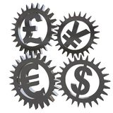Currency exchange concept with gears Royalty Free Stock Photography