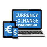 Currency exchange concept. Modern digital devices with currency signs. Isolated on white background. Vector illustration Royalty Free Stock Images