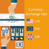 Currency exchange concept. Currency exchange rate. Foreign exchange. Vector illustration, flat design style. Money in hand Royalty Free Stock Images