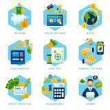 Currency Exchange Concept Set. With inflation cash dispenser deposit operation icons  vector illustration Stock Photography