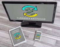 Currency exchange concept on different devices. Currency exchange concept shown on different information technology devices Royalty Free Stock Photos