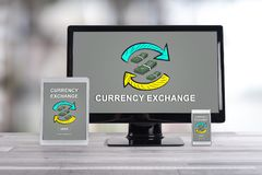 Currency exchange concept on different devices. Currency exchange concept shown on different information technology devices Stock Photography