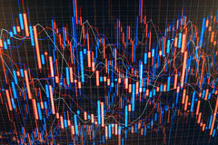 Currency exchange. Data analyzing in forex market: the charts and quotes on display. Computer monitor stock chart live investor an Stock Image