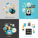 Currency Exchange Design Concept. Set with online payment flat icons  vector illustration Stock Photos