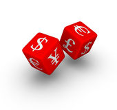 Currency exchange dice Royalty Free Stock Photos