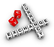 Currency exchange dice. Currency exchange crossword and red dice royalty free illustration