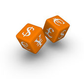 Currency exchange dice. Icon (3D crossword orange series stock illustration