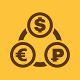 The currency exchange dollar, euro, ruble icon. Cash and money, wealth, payment symbol. Flat Stock Images