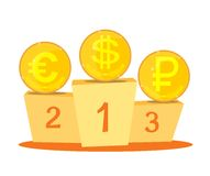 The currency exchange dollar, euro, ruble icon. Royalty Free Stock Images