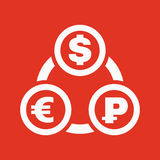 The currency exchange dollar, euro, ruble icon. Cash and money, wealth, payment symbol. Flat Royalty Free Stock Images
