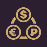 The currency exchange dollar, euro, ruble icon. Cash and money, wealth, payment symbol. Flat Royalty Free Stock Photos