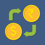 Currency exchange. Dollar and Rupee. Stock Photos