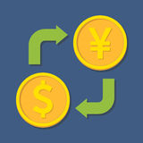 Currency exchange. Dollar and Yen(Yuan). Stock Images