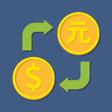 Currency exchange. Dollar and Yuan. Royalty Free Stock Image