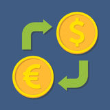Currency exchange. Euro and Dollar. Royalty Free Stock Photo